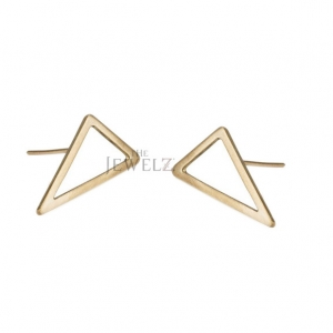 14K Solid Plain Gold Trigon Earrings Handmade Fine Jewelry