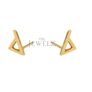 14K Solid Plain Gold Matte Finish Triangle Earrings Handmade Fine Jewelry