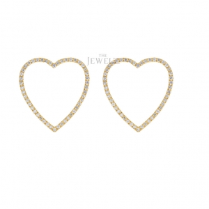 14K Gold 0.87 Ct. Genuine Diamond Love Heart Earrings Valentine's Fine Jewelry