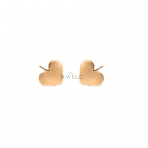14K Solid Plain Gold Love Heart Shape Stud Earrings Fine Valentine's Jewelry