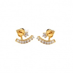 14K Gold 0.27 Ct. Natural Diamond Bow Earrings Handmade Fine Jewelry