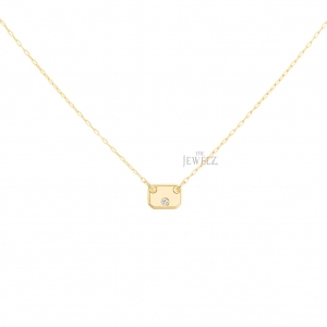 18K Gold 0.06 Ct. Solitaire Natural Diamond Octagon Pendant Necklace Jewelry