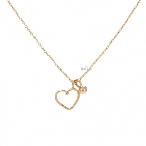 18K Gold 0.03 Ct. Natural Diamond Love Heart Pendant Necklace Fine Jewelry
