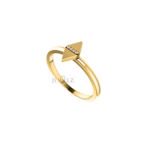 14K Gold 0.04 Ct. Natural Diamond  Rhombus Ring Fine Jewelry Size - 3 to 9 US
