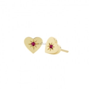18K Gold 0.29 Ct. Natural Ruby Gemstone 10 mm Heart Earrings Valentine's Jewelry