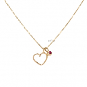 18K Gold 0.15 Ct. Natural Ruby Love Heart Pendant Necklace Valentine's Jewelry