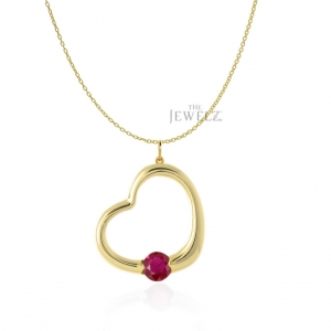 14K Gold 0.15 Ct. Natural Ruby Gemstone Love Heart Necklace Valentine's Jewelry