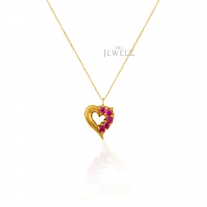 14K Gold 0.20 Ct. Natural Ruby Gemstone Heart Necklace Valentine's Fine Jewelry