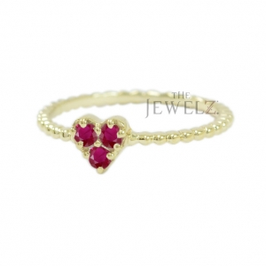 14K Gold Beaded 0.24 Ct. Natural Ruby Gemstone Heart Ring Valentine's Jewelry