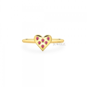 14K Gold 0.08 Ct. Natural Ruby Gemstone Heart Ring Valentine's Fine Jewelry