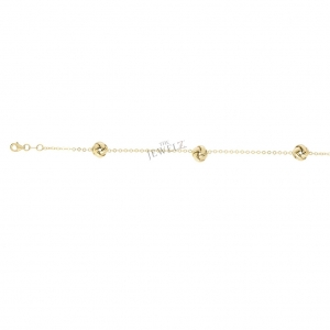 14K Yellow Gold 8.3 mm Shiny 3 Love Knot Valentine's Bracelet with Lobster Clasp