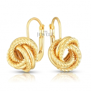 14K Yellow Gold Braided Love Knot Earrings Valentine's Jewelry With Snap Clasp
