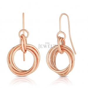 14K Yellow/White/Rose Gold Love Knot Valentine's Earrings With Euro Wire Clasp