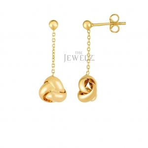 14K Yellow Gold 9x26 mm Drop Loveknot Valentine's Earring with Push Back Clasp