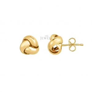 14K Yellow Gold 8.5 mm Shiny Loveknot Valentine Earring with Push Back Clasp