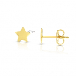 14K Solid Yellow/White Gold 6.5 mm Shiny Post Star Earrings Christmas Jewelry