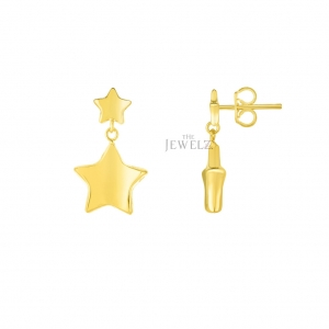 14K Solid Yellow Gold 12x18mm Shiny Star Drop Earring Christmas Fine Jewelry