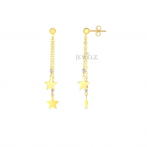14K Gold Two Tone (Yellow & White) Shiny Star Chain Earrings Christmas Jewelry