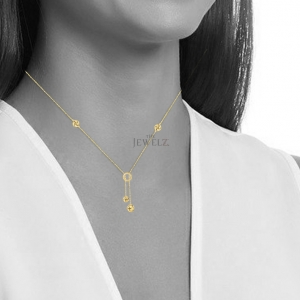 14K Yellow Gold 4 Shiny Love Knot + Open Ring Lariat Type Valentine's Necklace