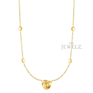 14K Yellow Gold Shiny Love Knot Necklace With Lobster Clasp Valentine's Jewelry