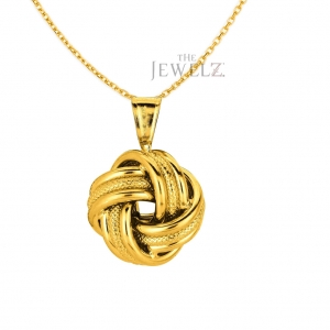 14K Yellow Gold Shiny 3 Row Loveknot Valentine's Pendant Necklace Fine Jewelry