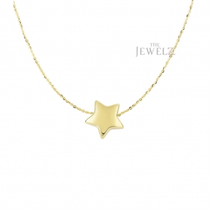 14K Yellow Gold Shiny 11.8 mm Sliding Puffed Star Necklace Christmas Jewelry