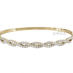 14K Gold 0.43 Ct. Genuine Diamond Braided Unique Bangle Bracelet Fine Jewelry