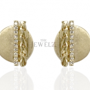18K Yellow Gold 0.06 Ct. Genuine Diamond Braided and Bar Solid Circle Earring