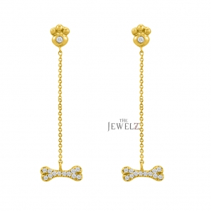 14K Gold 0.27 Ct. Genuine Diamond Paw Print Wishbone Dangling Chain Earrings