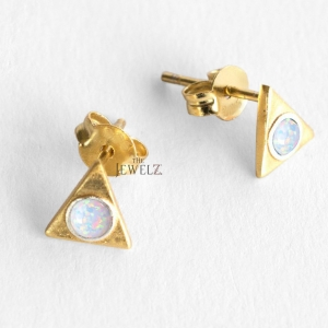 14K Gold 0.20 Ct. Genuine Opal Gemstone 6 mm Triangle Stud Earrings Fine Jewelry