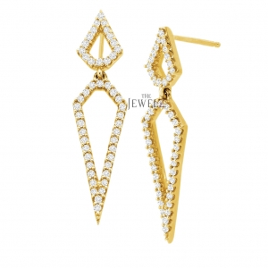 14K Gold 0.48 Ct. Genuine Diamond 32 mm Long Geometrical Earrings Fine Jewelry