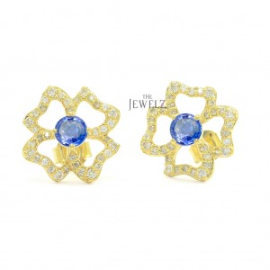 14K Gold Genuine Diamond And Blue Sapphire Gemstone Floral Earrings Fine Jewelry