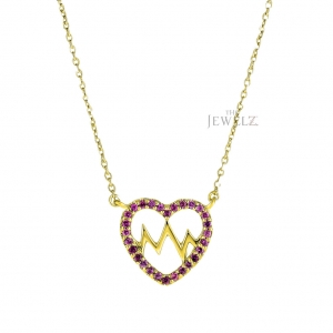 14K Gold 0.30 Ct. Genuine Diamond Love Heartbeat Necklace Mother's Day Jewelry