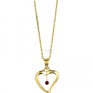 14K Gold 0.05 Ct. Genuine Ruby Gemstone Love Heart Necklace Mother's Day Jewelry