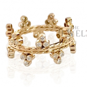 18K Yellow Gold 0.46 Ct. Natural Round Diamond Double Braided Ring Fine Jewelry
