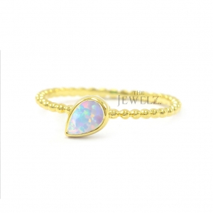 14K Gold Beaded 0.40 Ct. Solitaire Genuine Opal Gemstone Wedding Ring Jewelry