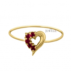 14K Gold 0.2 Ct. Genuine Ruby Gemstone Love Heart Ring Mother's Day Fine Jewelry