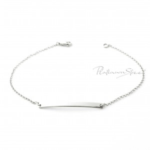 995 Platinum Dainty Personalized Engraving Bar Bracelet Fine Jewelry