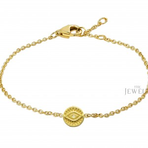14K Gold 0.01 Ct. Genuine Diamond Evil Eye Disc Charm Bracelet Fine Jewelry