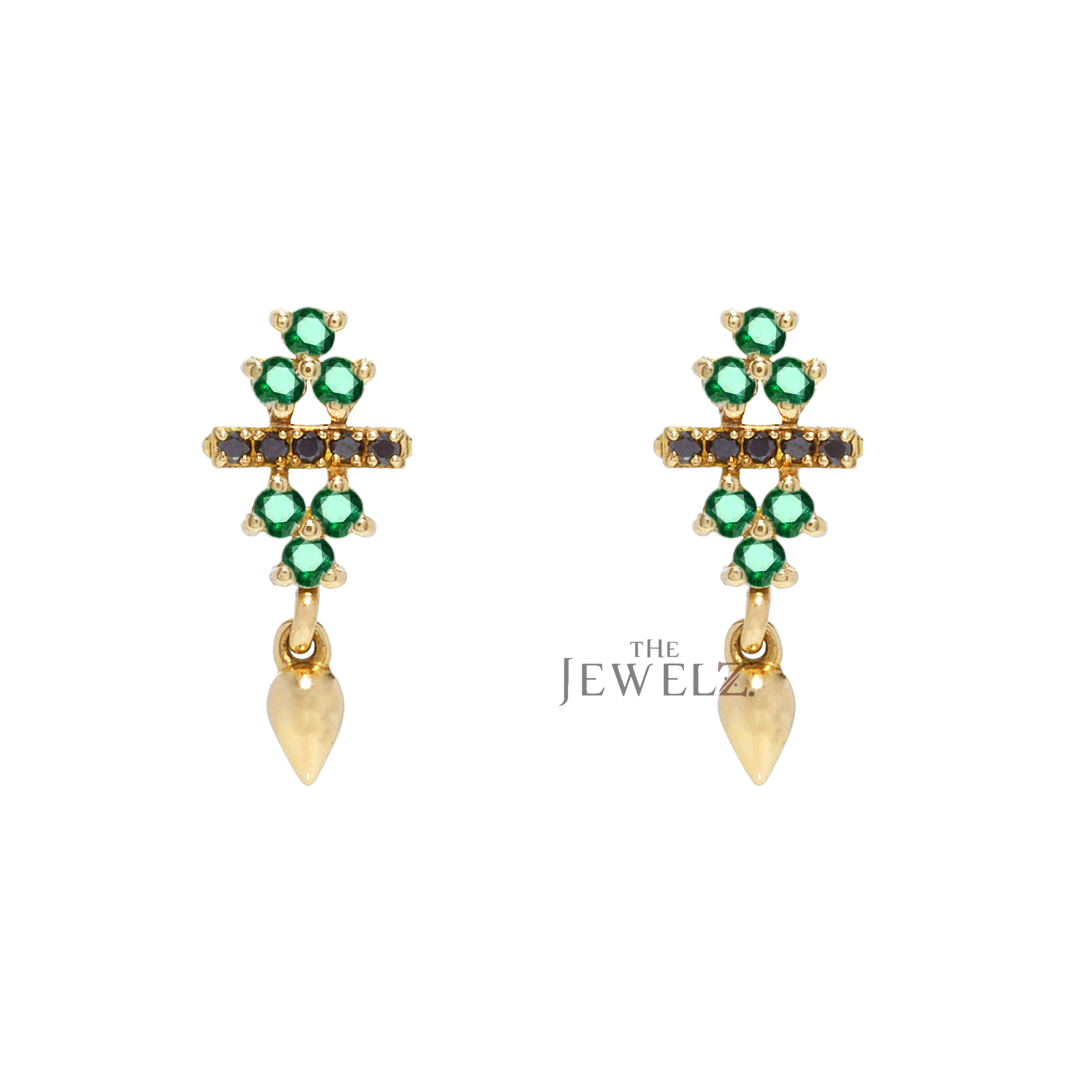 14K Gold Genuine Emerald And Black Diamonds Bar Cluster Earrings Fine Jewelry