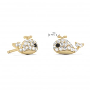 14K Gold 0.22 Ct. Genuine White And Black Diamond Fish Stud Earring Fine Jewelry