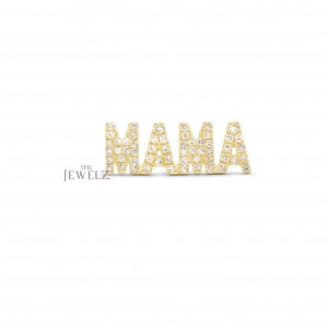 14K Gold 0.28 Ct. Genuine Diamond MAMA Earrings Mother's Day Gift (Single Piece)