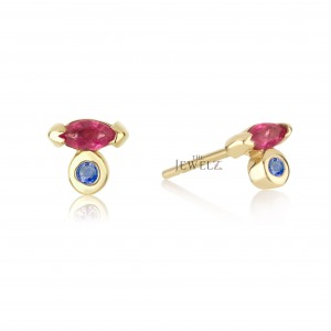 14K Gold Genuine Marquise Ruby And Round Blue Sapphire Gemstone Studs Earrings