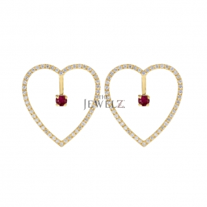 14K Gold Genuine Diamond And Ruby Gemstone Heart Earrings Mother's Day Jewelry