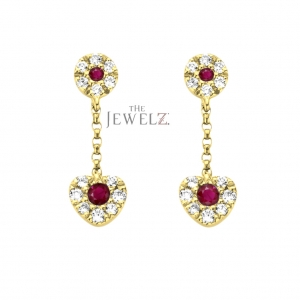 14K Gold Genuine Diamond And Ruby Drop Heart Chain Earrings Mother's Day Jewelry
