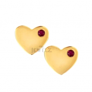 14K Gold 0.08 Ct. Genuine Ruby Gemstone 10 mm Heart Mother's Day Studs Earrings