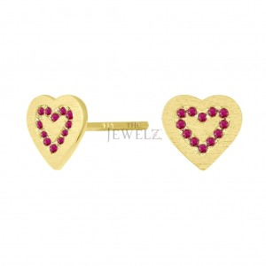 14K Gold 0.25 Ct. Genuine Ruby Concentric Hearts Stud Earrings Mother's Day Gift