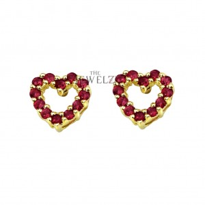14K Gold 0.45 Ct. Genuine Ruby Gemstone Heart Studs Earrings Mother's Day Gift