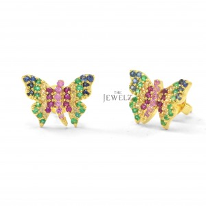 14K Gold 1.00 Ct. Genuine Multi Sapphire Rainbow Butterfly Earrings Fine Jewelry