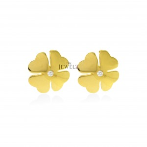14K Gold 0.04 Ct. Genuine Diamond Floral Earrings Fine Jewelry - New Arrival